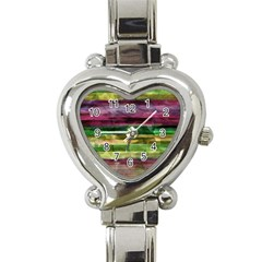 Colorful marble Heart Italian Charm Watch