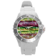 Colorful marble Round Plastic Sport Watch (L)