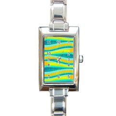 Yellow and blue decorative design Rectangle Italian Charm Watch