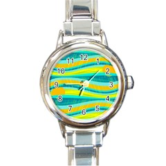 Yellow and blue decorative design Round Italian Charm Watch