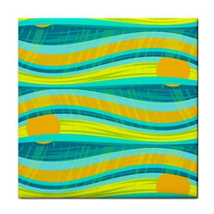 Yellow and blue decorative design Tile Coasters
