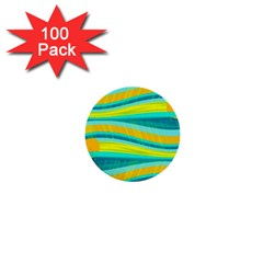 Yellow and blue decorative design 1  Mini Buttons (100 pack)