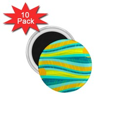 Yellow and blue decorative design 1.75  Magnets (10 pack)