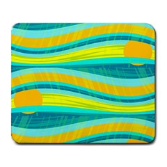 Yellow and blue decorative design Large Mousepads