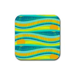 Yellow and blue decorative design Rubber Coaster (Square)