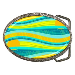 Yellow and blue decorative design Belt Buckles