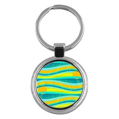 Yellow and blue decorative design Key Chains (Round)