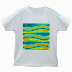 Yellow and blue decorative design Kids White T-Shirts