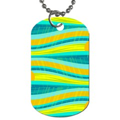 Yellow and blue decorative design Dog Tag (One Side)
