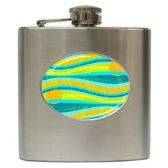 Yellow and blue decorative design Hip Flask (6 oz)