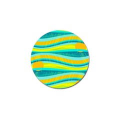 Yellow and blue decorative design Golf Ball Marker (4 pack)