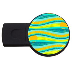 Yellow and blue decorative design USB Flash Drive Round (2 GB)