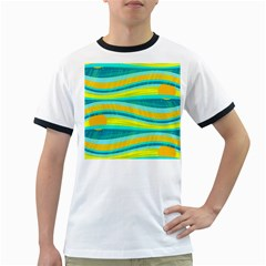 Yellow and blue decorative design Ringer T-Shirts