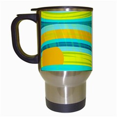 Yellow and blue decorative design Travel Mugs (White)