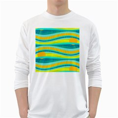 Yellow and blue decorative design White Long Sleeve T-Shirts