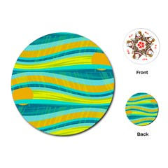 Yellow and blue decorative design Playing Cards (Round)