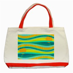 Yellow and blue decorative design Classic Tote Bag (Red)