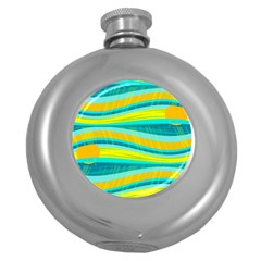 Yellow and blue decorative design Round Hip Flask (5 oz)