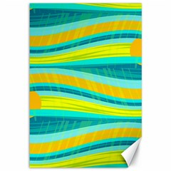Yellow and blue decorative design Canvas 12  x 18