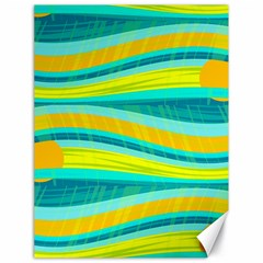 Yellow and blue decorative design Canvas 18  x 24