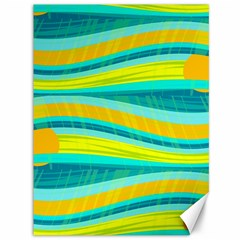 Yellow and blue decorative design Canvas 36  x 48