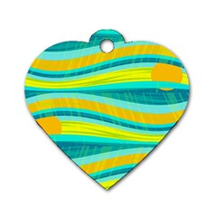 Yellow and blue decorative design Dog Tag Heart (Two Sides)