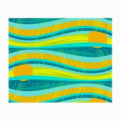 Yellow and blue decorative design Small Glasses Cloth (2-Side)