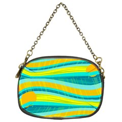 Yellow and blue decorative design Chain Purses (One Side)