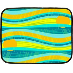 Yellow and blue decorative design Double Sided Fleece Blanket (Mini)