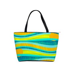 Yellow and blue decorative design Shoulder Handbags