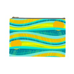 Yellow and blue decorative design Cosmetic Bag (Large)