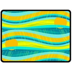 Yellow and blue decorative design Fleece Blanket (Large)