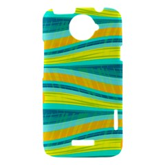 Yellow and blue decorative design HTC One X Hardshell Case