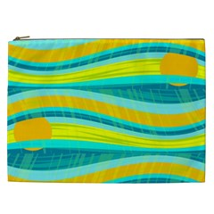 Yellow and blue decorative design Cosmetic Bag (XXL)