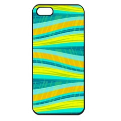 Yellow and blue decorative design Apple iPhone 5 Seamless Case (Black)