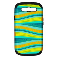 Yellow and blue decorative design Samsung Galaxy S III Hardshell Case (PC+Silicone)