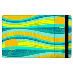 Yellow And Blue Decorative Design Apple Ipad 2 Flip Case