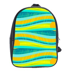 Yellow and blue decorative design School Bags (XL)