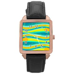 Yellow and blue decorative design Rose Gold Leather Watch