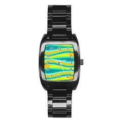 Yellow And Blue Decorative Design Stainless Steel Barrel Watch