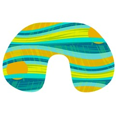 Yellow and blue decorative design Travel Neck Pillows