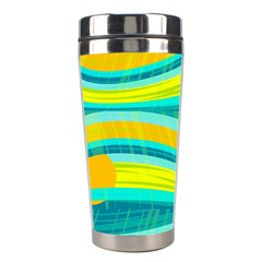 Yellow and blue decorative design Stainless Steel Travel Tumblers