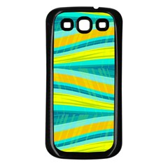 Yellow and blue decorative design Samsung Galaxy S3 Back Case (Black)