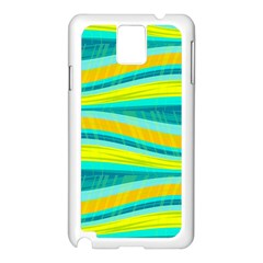 Yellow and blue decorative design Samsung Galaxy Note 3 N9005 Case (White)