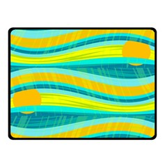 Yellow and blue decorative design Double Sided Fleece Blanket (Small)