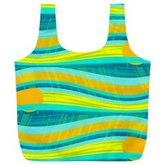 Yellow and blue decorative design Full Print Recycle Bags (L)