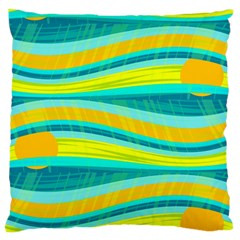 Yellow and blue decorative design Large Flano Cushion Case (Two Sides)
