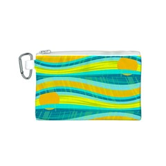 Yellow and blue decorative design Canvas Cosmetic Bag (S)