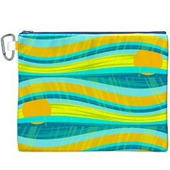 Yellow and blue decorative design Canvas Cosmetic Bag (XXXL)