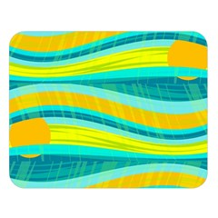 Yellow and blue decorative design Double Sided Flano Blanket (Large)